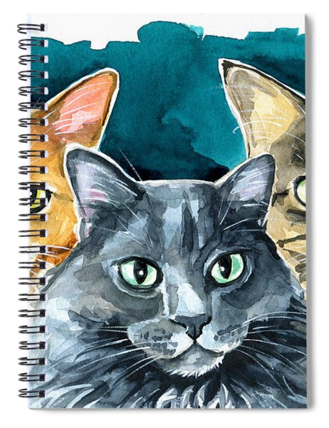 Oliver, Willow And Walter - Cat Painting Spiral Notebook