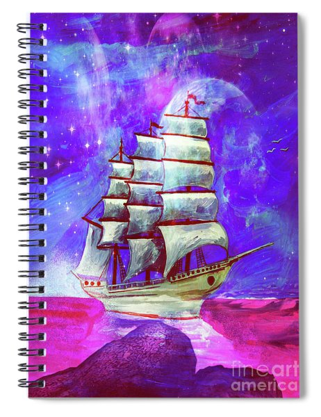 On The Sea At Sunset Spiral Notebook
