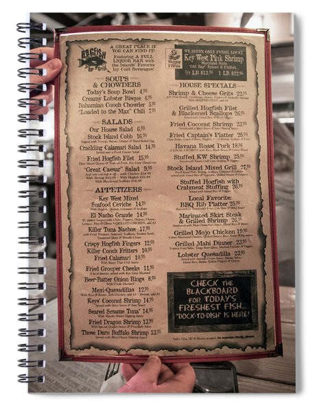 One Good Menu Stock Island Florida Keys Spiral Notebook