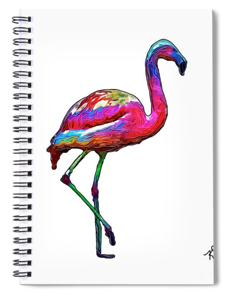One Step At A Time Abstract Flamingo Spiral Notebook