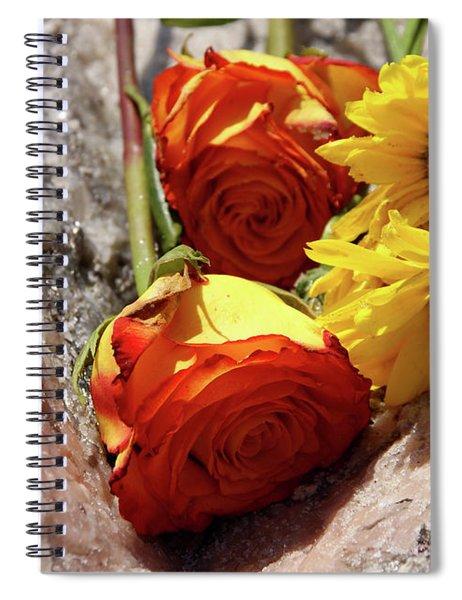 Orange And Yellow On Pink Granite Spiral Notebook