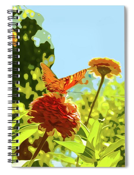 Orange Butterfly On Zinnia On Sunny Day Spiral Notebook