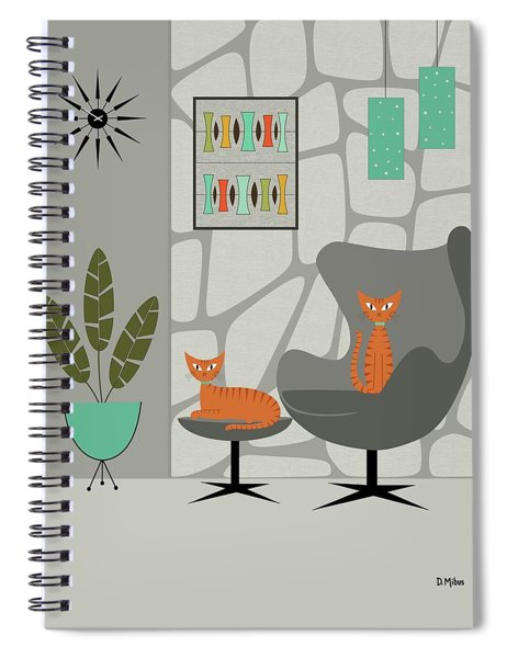 Orange Cat In Gray Stone Wall Spiral Notebook