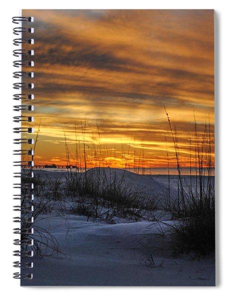 Orange Clouded Sunrise Over The Pier Spiral Notebook