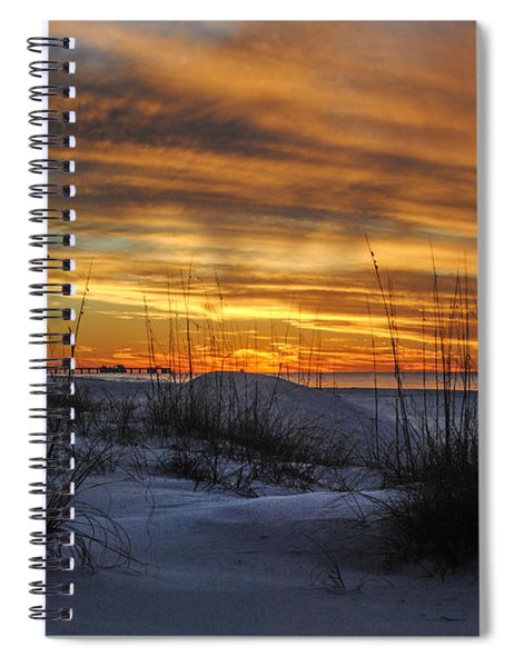 Orange Clouded Sunrise Over The Pier Spiral Notebook