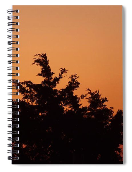 Orange Dawn With Windmill Spiral Notebook