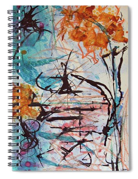 Orange Flowers In Vase Spiral Notebook