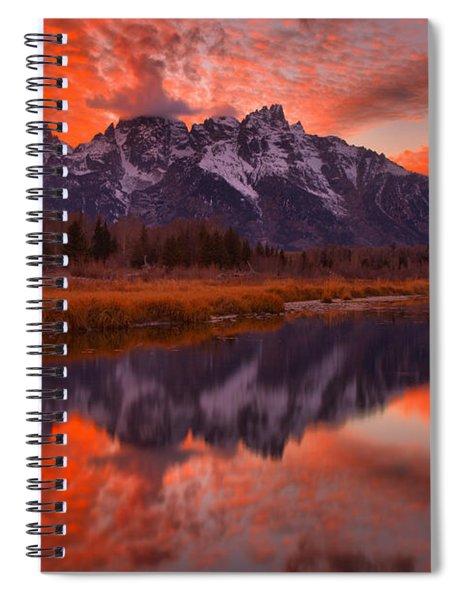 Orange Skies Over The Tetons Spiral Notebook