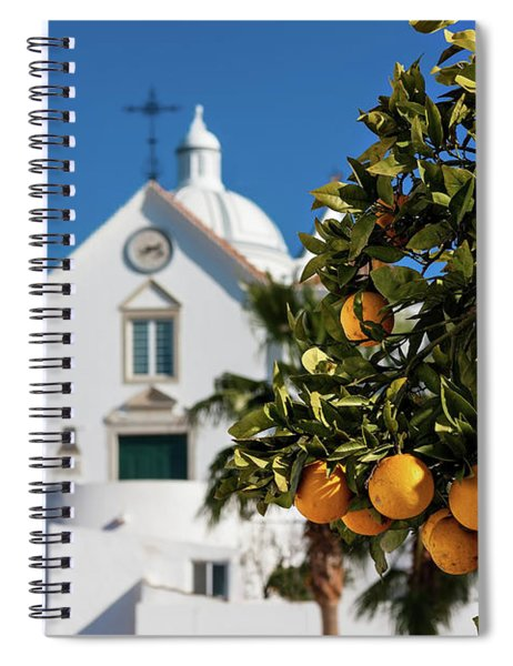 Spiral Notebook featuring the photograph Orange Tree And Church - Castro Marim, Portugal by Barry O Carroll