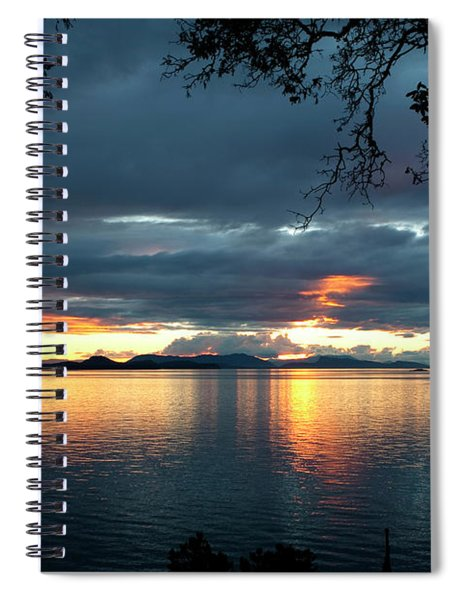 Spiral Notebook featuring the photograph Orcas Island Sunset by Lorraine Devon Wilke