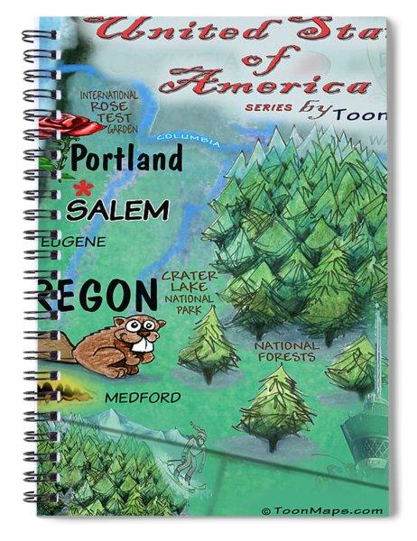 Oregon Fun Map Spiral Notebook