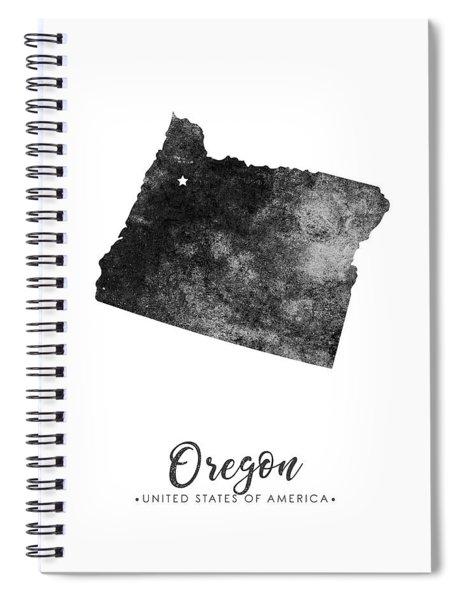 Oregon State Map Art - Grunge Silhouette Spiral Notebook