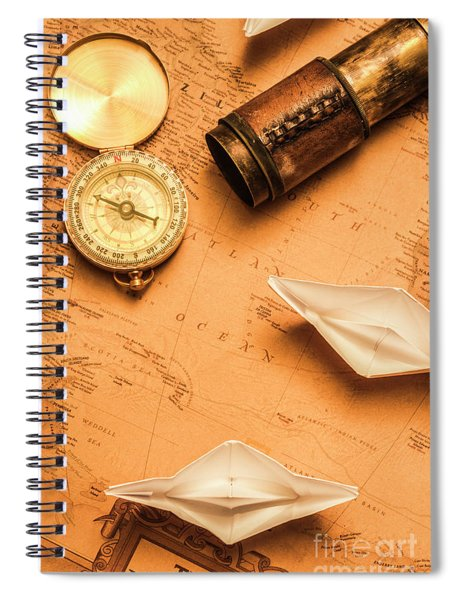 Origami Paper Boats On A Voyage Of Exploration Spiral Notebook