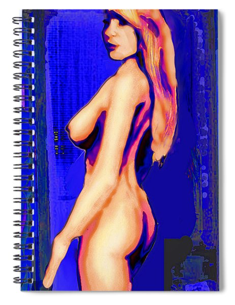 Spiral Notebook featuring the painting Original Fine Art Nude Jess Standing Oil Acrylic Sketch Colorized by G Linsenmayer