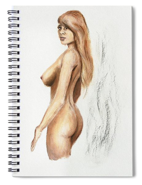 Spiral Notebook featuring the painting Original Fine Art Nude Jess Standing Oil Acrylic Sketch by G Linsenmayer