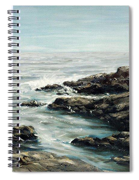 Spiral Notebook featuring the painting Original Fine Art Painting Bass Rocks Massachusetts by G Linsenmayer