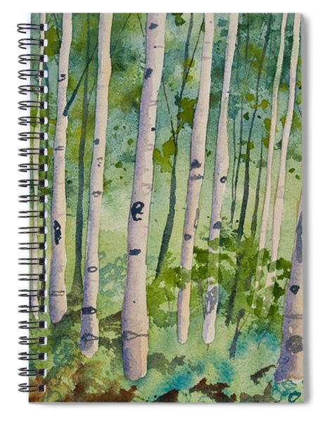 Original Watercolor - Summer Aspen Forest Spiral Notebook