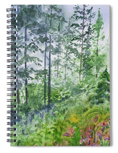 Original Watercolor - Summer Pine Forest Spiral Notebook