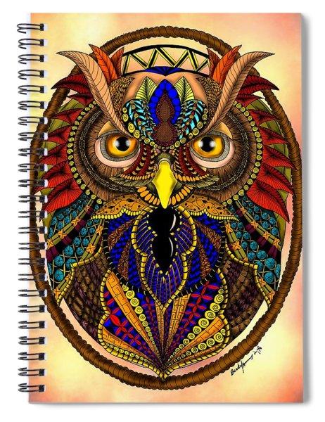Ornate Owl In Color Spiral Notebook