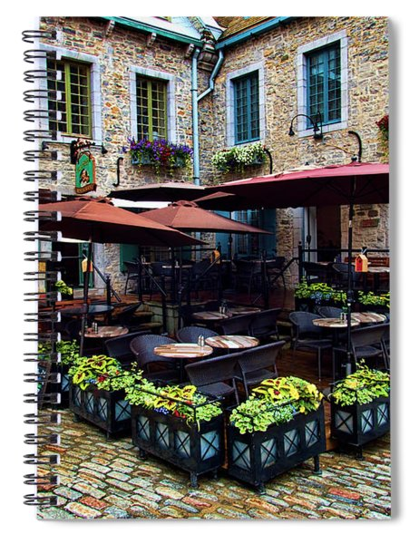 Outdoor French Cafe In Old Quebec City Spiral Notebook