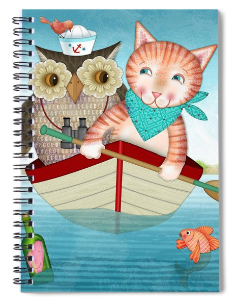 Owl And Cat Spiral Notebook