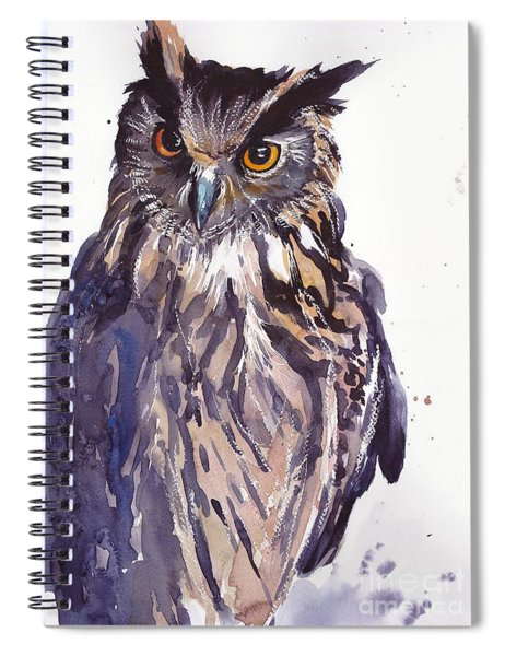 Owl Watercolor Spiral Notebook