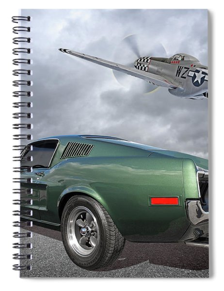 P51 With Bullitt Mustang Spiral Notebook