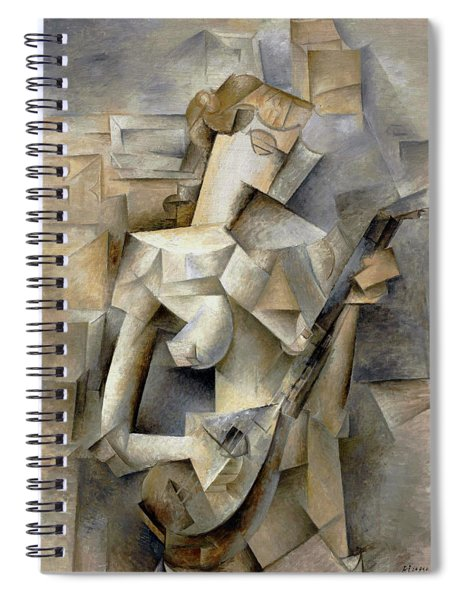 Spiral Notebook featuring the painting Pablo Picasso Girl With A Mandolin 1910 by Movie Poster Prints