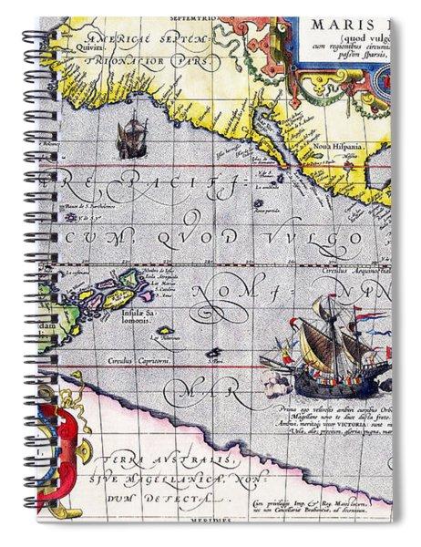 Pacific Ocean Vintage Map Spiral Notebook