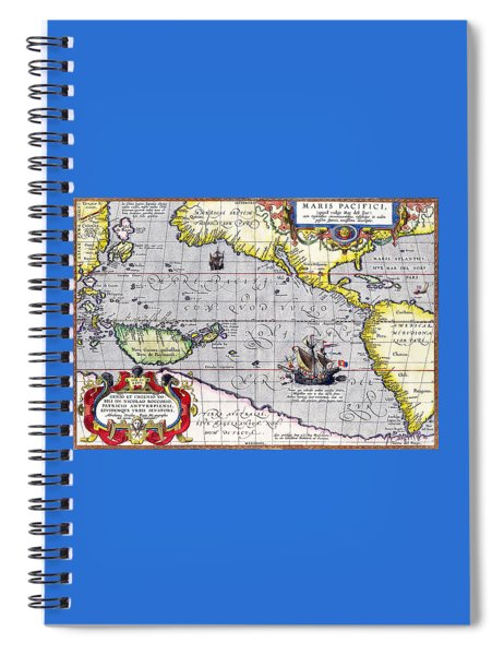 Pacific Ocean Vintage Map Spiral Notebook