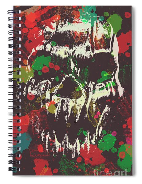 Paint Splash Skull Spiral Notebook