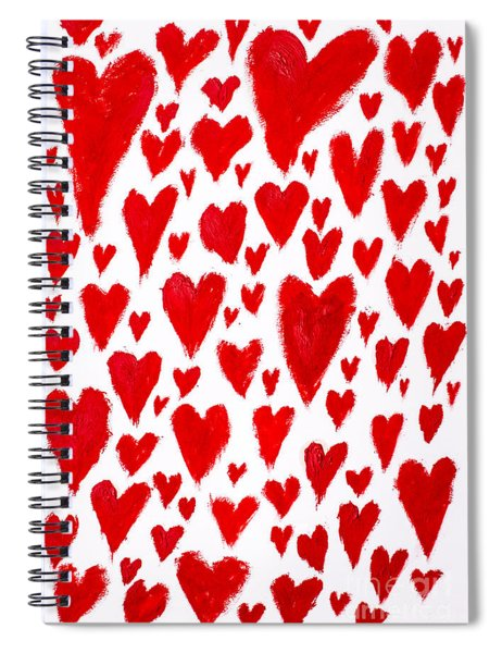 Painted Red Hearts Spiral Notebook