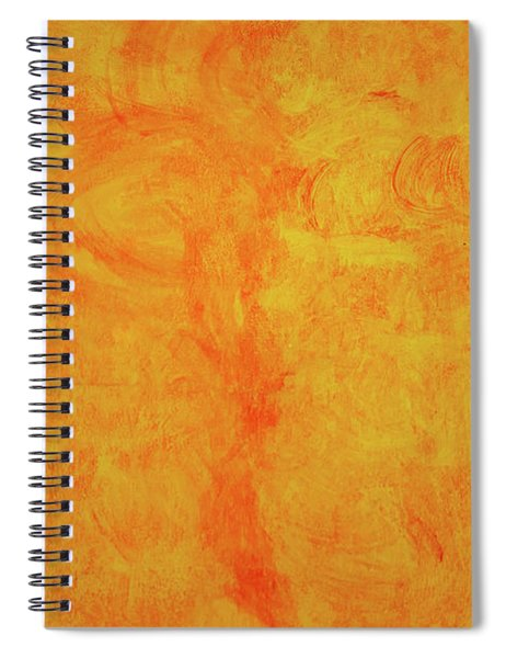 Painted Yellow With Orange Brush Strokes Stucco Wall Background Spiral Notebook