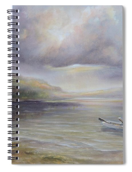Beach By Sruce Run Lake In New Jersey At Sunrise With A Boat Spiral Notebook