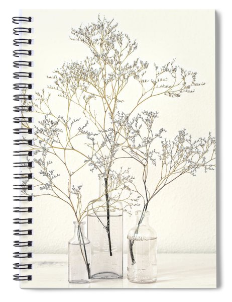 Pale Blue Flowers On White Spiral Notebook