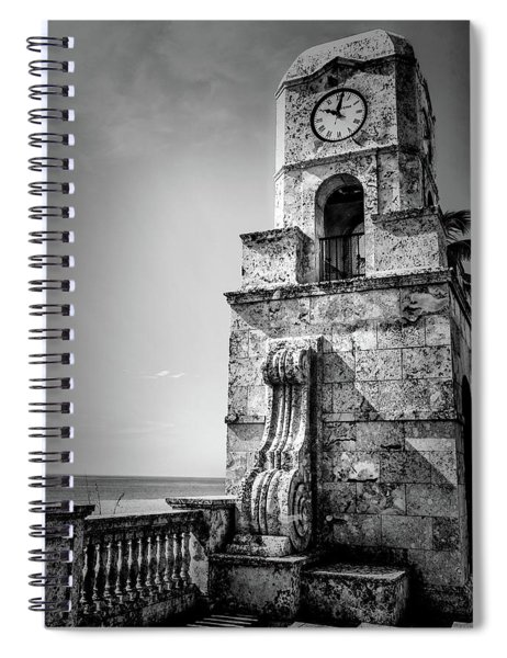Palm Beach Clock Tower In Black And White Spiral Notebook