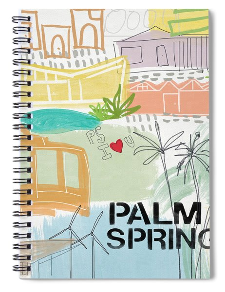 Palm Springs Cityscape- Art By Linda Woods Spiral Notebook by Linda Woods