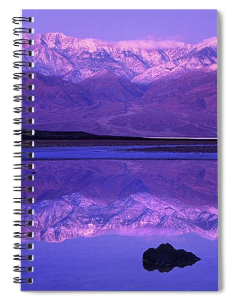 Panorama Badwater And The Panamint Range At Sunrise Death Valley Spiral Notebook