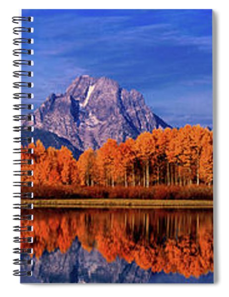 Panorama Fall Color Oxbow Bend Snake River Grand Tetons Spiral Notebook