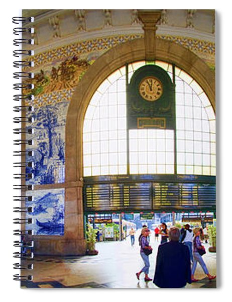 Panorama Of The Sao Bento Train Station In Oporto Portugal Spiral Notebook