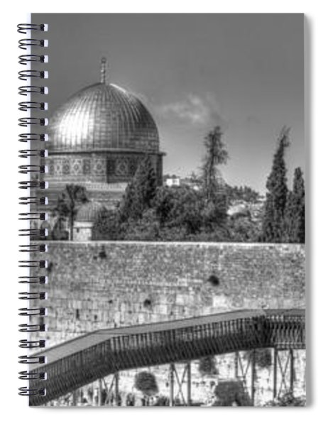 Panorama Of The Western Wall And The Dome Of The Rock Bw Spiral Notebook