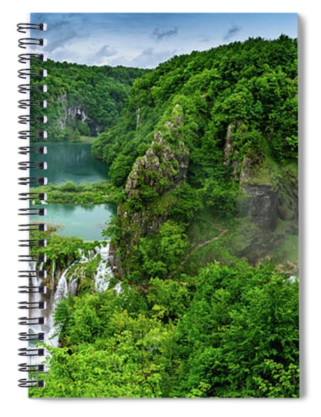 Panorama Of Turquoise Lakes And Waterfalls - A Dramatic View, Plitivice Lakes National Park Croatia Spiral Notebook