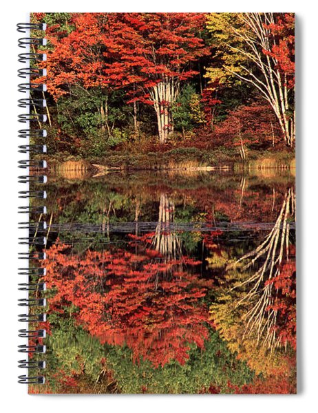 Panoramic Fall Color Thorton Lake Upper Penninsula Michigan Spiral Notebook