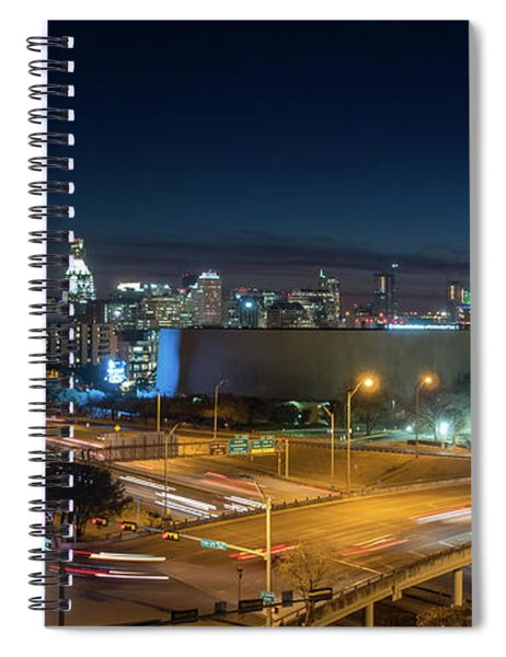 Panoramic View Of Busy Austin Texas Downtown Spiral Notebook