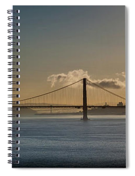 Panoramic View Of Downtown San Francisco Behind The Golden Gate  Spiral Notebook