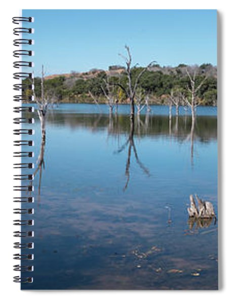 Panoramic View Of Large Lake With Grass On The Shore Spiral Notebook