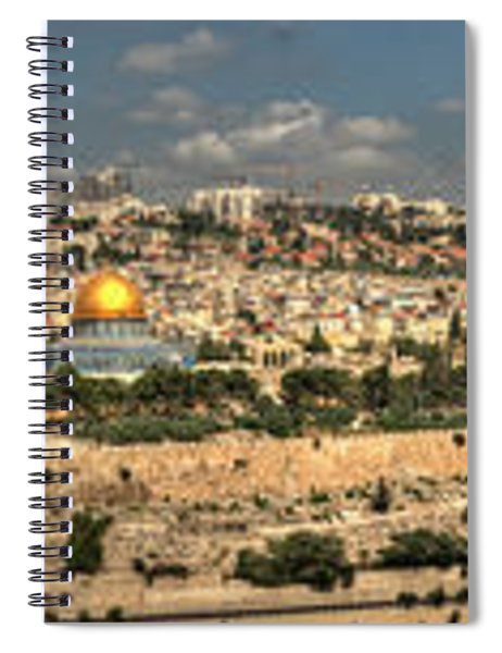 Panoramic View Of The Old City Of Jerusalem 1 Spiral Notebook