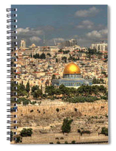 Panoramic View Of The Old City Of Jerusalem 2 Spiral Notebook