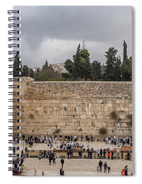 Panoramic View Of The Wailing Wall In The Old City Of Jerusalem Spiral Notebook