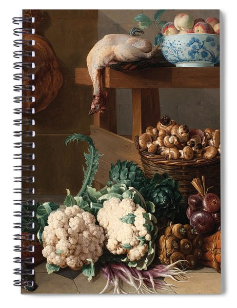 Pantry With Artichokes Cauliflowers And A Basket Of Mushrooms Spiral Notebook